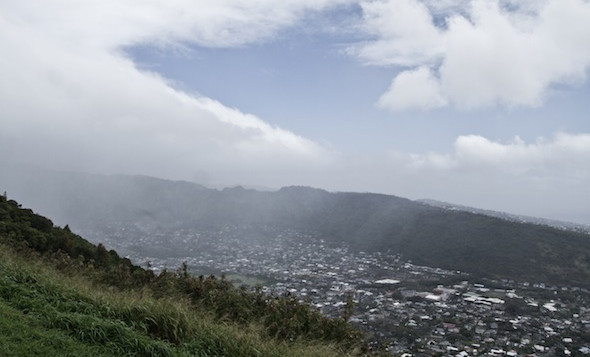 A rain cloud hovers over The Manoa Valley