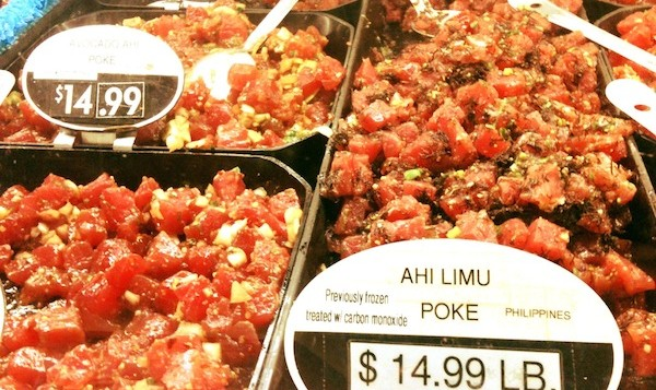 Large pans of fresh poke for sale