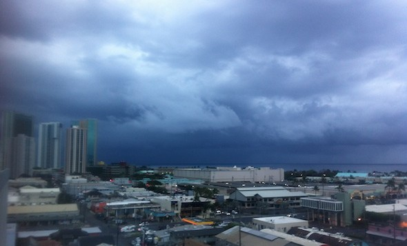Dark storm clouds over Honolulu