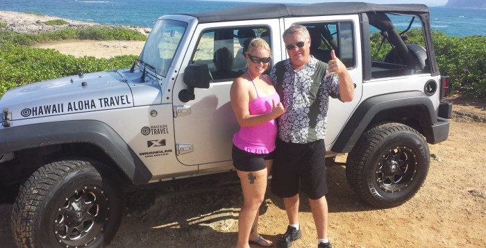 Couple on Oahu Jeep Tour at Laie Point