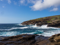 The rocky coast of Lanai