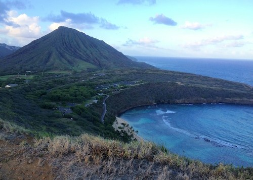 a wide shot of Koko Head from Hanauma Bay