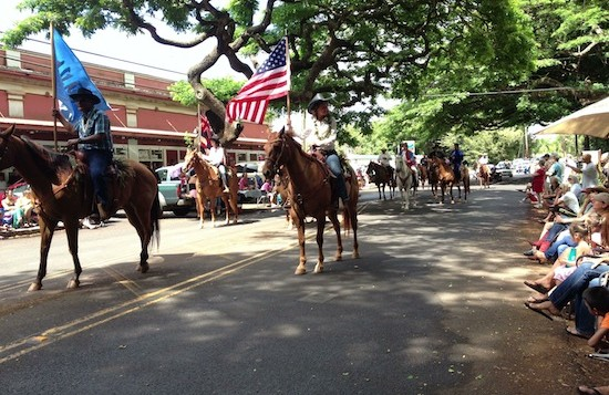 A group of horses in the Koloa Parade
