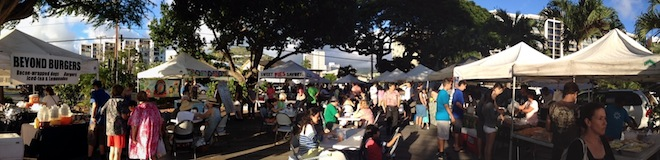 Panoramic shot of the Makiki Farmers Market