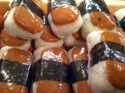 several spam musubi in a pile
