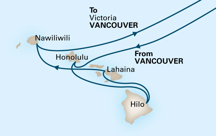 Zaandam Route Map showing ports of call in Hawaii