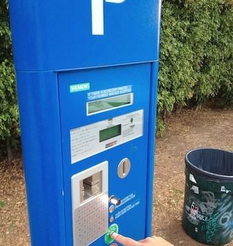 A solar powered parking meter in Waikiki