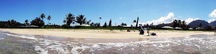 Panoramic image of Hanalei beach