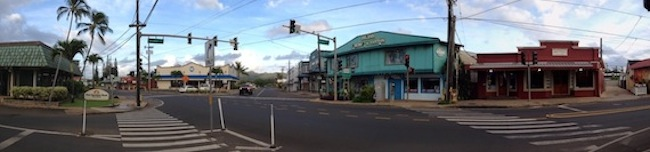 A panorama of an intersection in downtown Kapaa