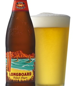 A bottle and glass of Longboard Lager from Kona Brewing Co.