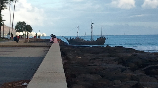 A pirate ship on the coast of Hawaii