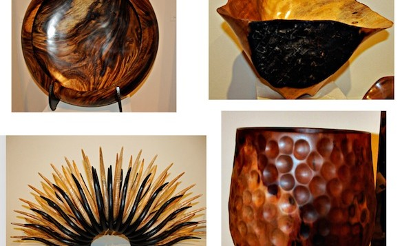 a collage of images of wooden artwork