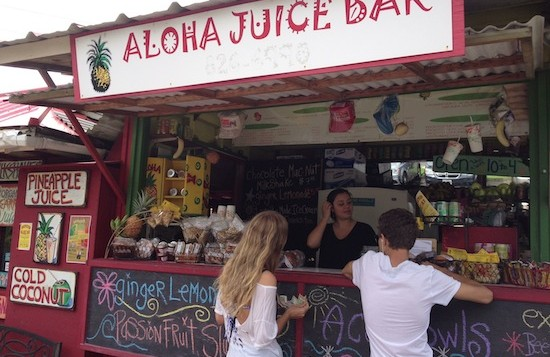 Customers ordering from the Aloha Juice Bar