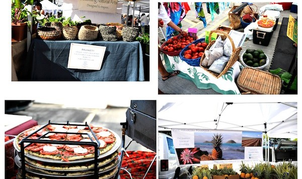 A collage of various vendors and local products from Ala Moana Farmers Market