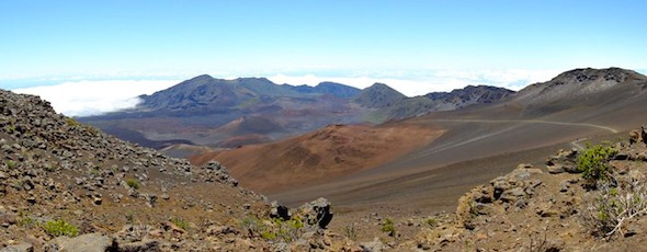 A wide shot of inside of Haleakala Crater on Maui