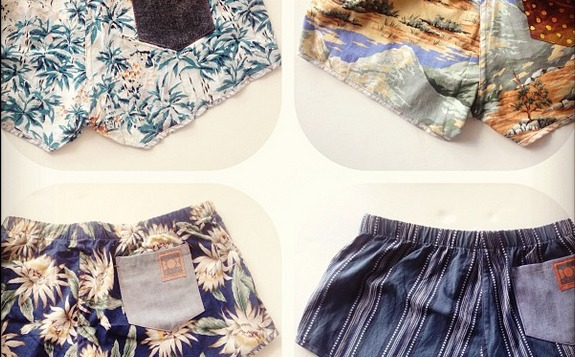 Handmade womens Hawaiian print shorts