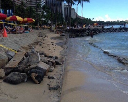 Signs of erosion on Waikiki Beach
