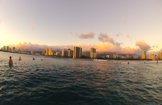 A view of Waikiki from the ocean during sunset