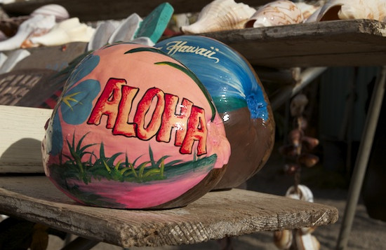 Coconut with the word ALOHA painted on it with various other colors