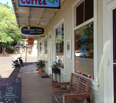 Entrance to Little Fish Coffee in Hanapepe Kauai