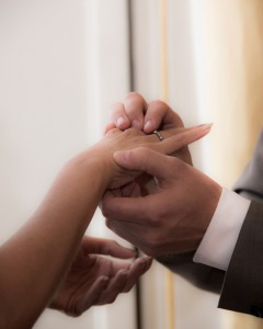 Hands of couple about to be married