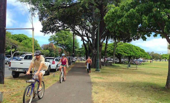 A busy walking path on Oahu