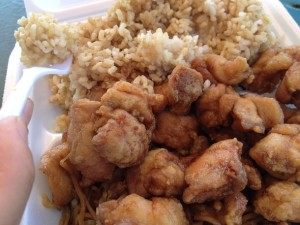 Chunks of fried chicken