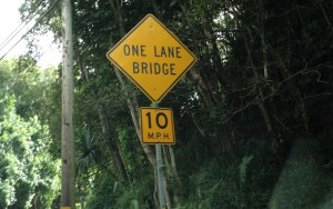 One Lane Bridge Sign