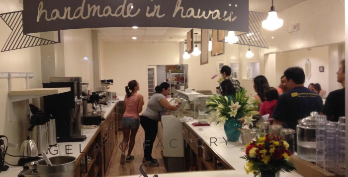 The busy scene inside of the Gelato Factory on opening night
