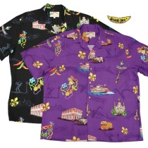 A black and purple Mardi Gras aloha shirt for sale