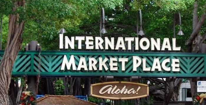 The sign in front of the International Market Place in Waikiki