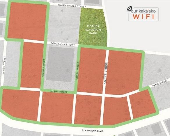 Map of Kakaako Free Wifi Coverage
