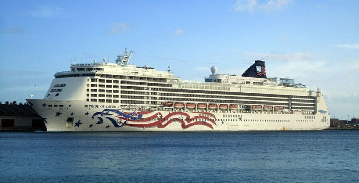 The NCL Pride of America Ship docked in port at Honolulu Harbor