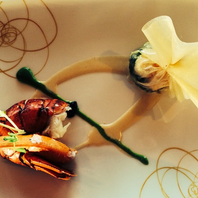 Air-flown live Maine lobster with a spinach and Ali'i mushroom purse