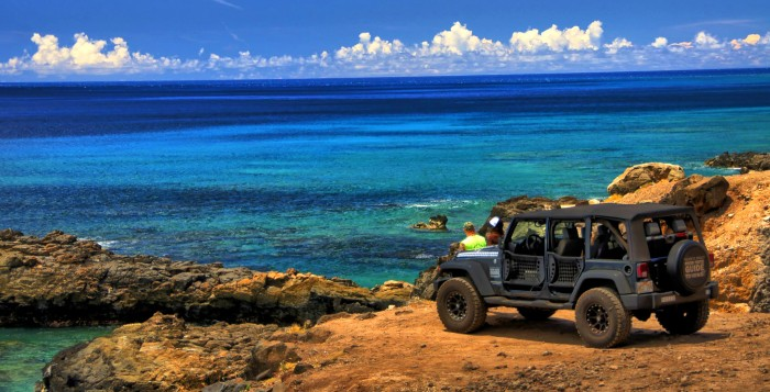 jeep parked at scenic point on Oahu