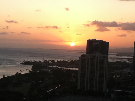 Sunset view from the signature steak house
