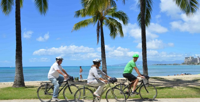 Bikers riding in waikiki