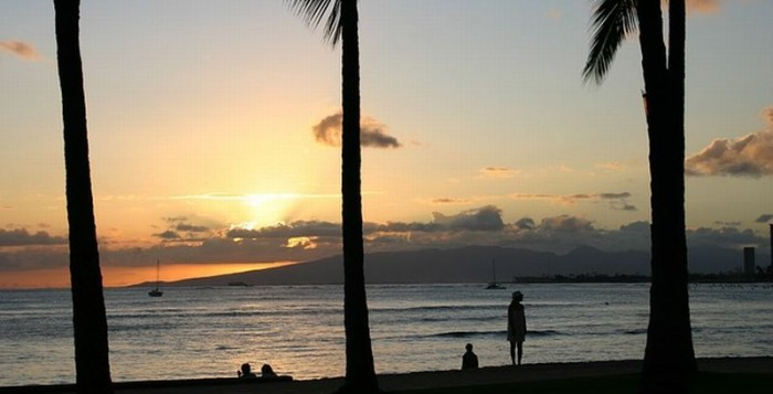 Sunset at Waikiki beach on Oahu