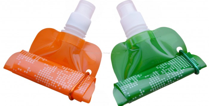 two Collapseable Water Bottles