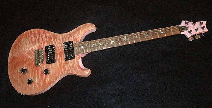 A custom quilt top electric guitar