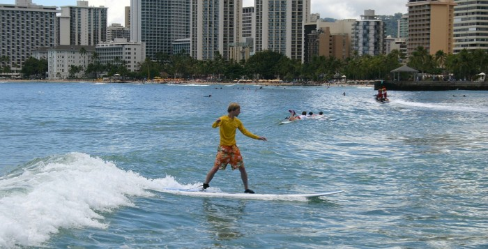 A surfer in Waikiki