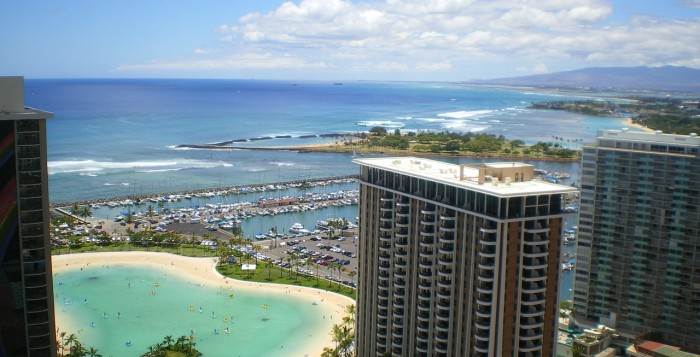 Aerial view of waikiki from a hotel