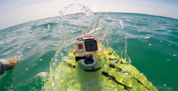 GoPro Video Camera mounted on a surfboard