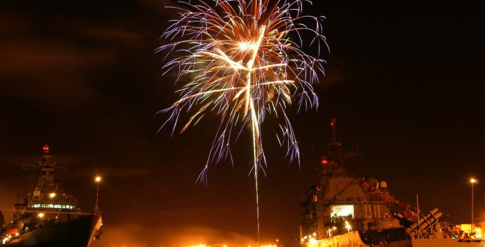 Fireworks in Pearl Harbor