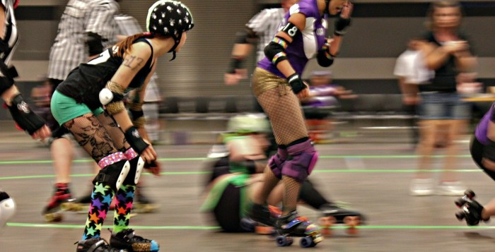 Some women playing Roller Derby