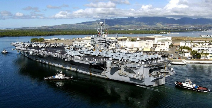 A warship in Pearl Harbor