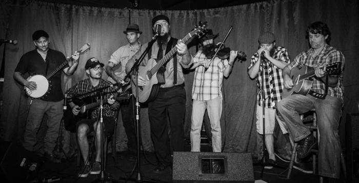 Roots music band, b&w