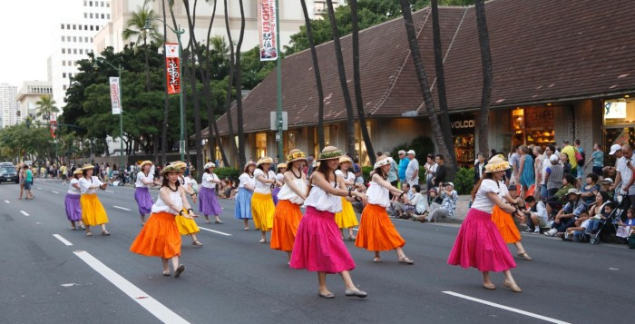 Honolulu festival parade performers on kalakua ave
