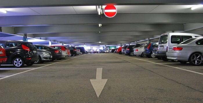 An indoor parking lot