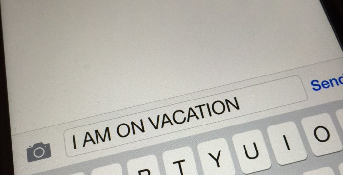 On Vacation Text message